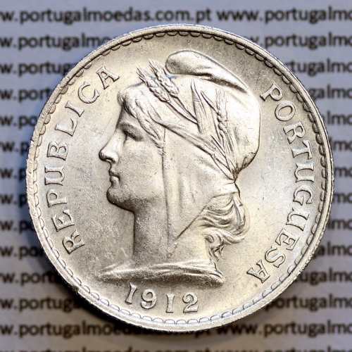 50 centavos 1912 prata, ($50 centavos prata 1912), Republica Portuguesa, (Bela / Soberba), World Coins Portugal  KM 561