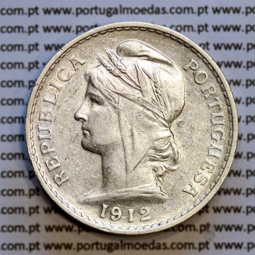 50 centavos 1912 prata, ($50 centavos prata 1912), Republica Portuguesa, (MBC+), World Coins Portugal  KM 561