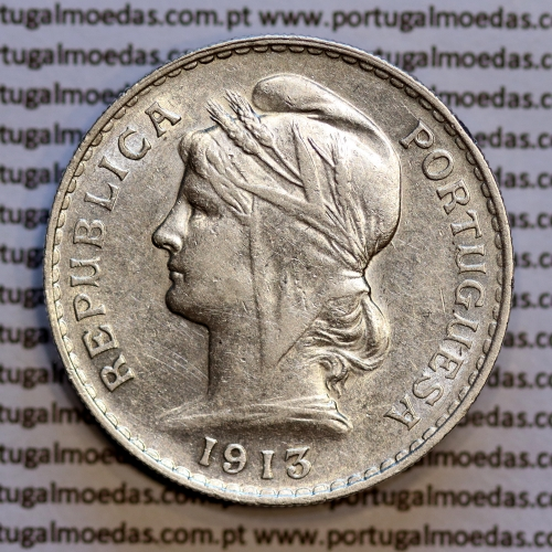 50 centavos 1913 prata, ($50 centavos prata 1913), Republica Portuguesa, (MBC+/Bela-), World Coins Portugal  KM 561