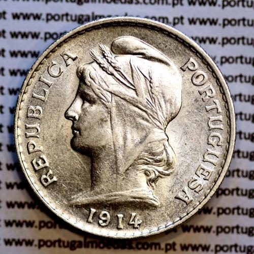 50 centavos 1914 prata, ($50 centavos prata 1914), Republica Portuguesa, (Bela / Soberba), World Coins Portugal  KM 561