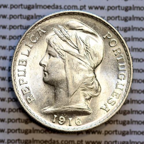50 centavos 1916 prata, ($50 centavos prata 1916), Republica Portuguesa, (Soberba), World Coins Portugal  KM 561