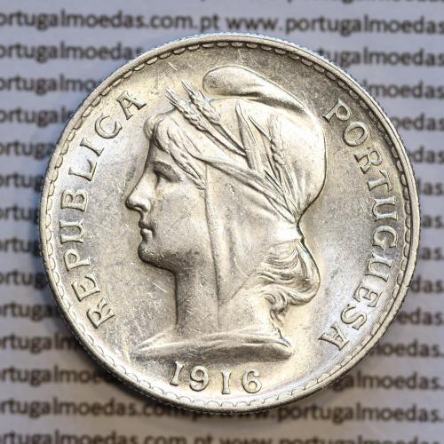 50 centavos 1916 prata, ($50 centavos prata 1916), Republica Portuguesa, (MBC+/Bela), World Coins Portugal  KM 561