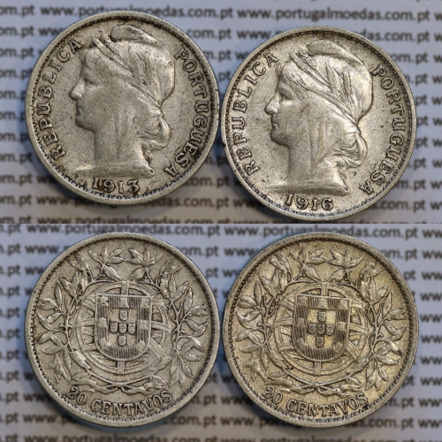 20 centavos prata 1913 + 20 centavos prata 1916, Republica Portuguesa, World Coins Portugal  KM 562