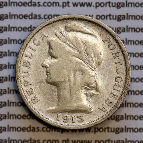 20 centavos 1913 prata, ($20 centavos prata 1913), Republica Portuguesa, (MBC-), World Coins Portugal  KM 562