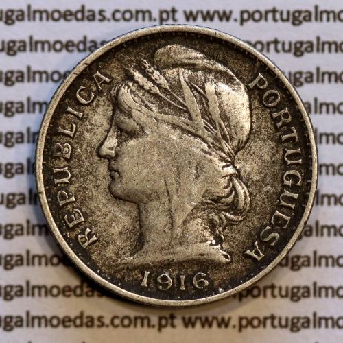 20 centavos 1916 prata, ($20 centavos prata 1916), Republica Portuguesa, (MBC), World Coins Portugal  KM 562