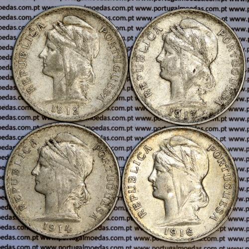50 centavos prata 1912, 1913, 1914, 1916 ($50 centavos), Republica Portuguesa, (Serie Completa), World Coins Portugal  KM 561