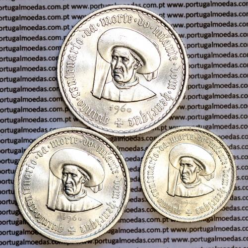 Serie moedas Henriquina 1960, moeda prata de 5$00 + 10$00 + 20$00, comemorativas do 5º Cent. da Morte do Infante Dom Henrique