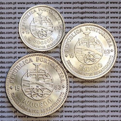serie moedas 500$00 + 750$00 + 1000$00 de 1983 comemorativas da XVII Exposição Europeia de Arte, Ciência e Cultura