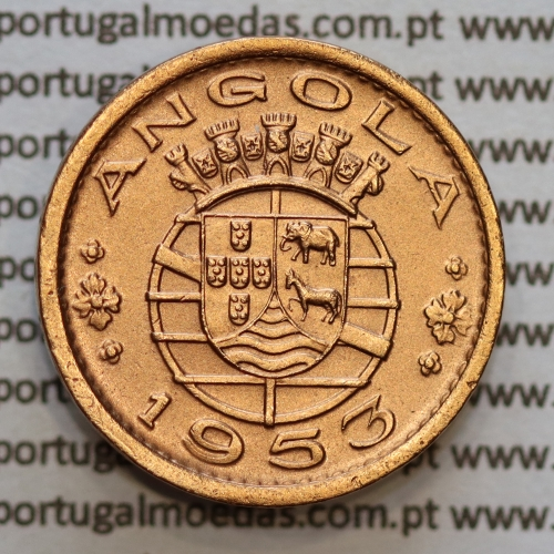 "Angola 50 Centavos 1953 Bronze, (""$50"" cinquenta centavos 1953 Angola), (Bela/Soberba), Angola, World Coins Angola KM 75"
