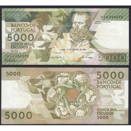 Nota de 5000 Escudos 1989 Antero de Quental, 5000$00 19/10/1989 Chapa: 2A - Banco de Portugal (Circulada)