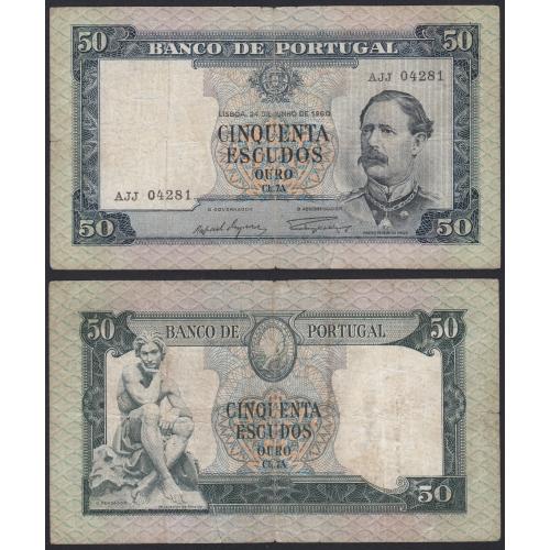 Nota de 50 Escudos 1960 Fontes Pereira de Mello, 50$00 24/06/1960 Chapa: 7A - Banco de Portugal (Muito Circulada)