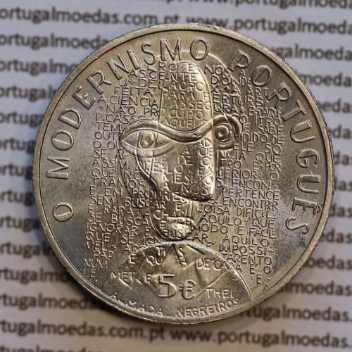 "5€ ""Euros"" 2016, O Modernismo, Cuproníquel, (5 Euro 2016, The Modernism, Copper-nickel coin, World Coins Portugal  KM 883)"