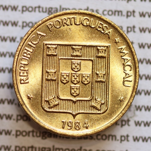 Macau 20 Avos 1984 Latão-Níquel, (Soberba) Ex-colónia Portuguesa, World Coins Macao KM 21