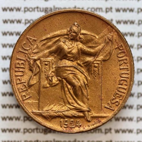 1 Escudo 1924 Bronze-Alumínio, 1$00 Escudo 1924 Republica Portuguesa, (Soberba), World Coins Portugal KM 576