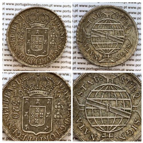 "320 Réis 1817 Prata D. João Príncipe Regente (Brasil), Pataca prata 1817 ""R"" Rio, World Coins Brasil KM 255.1"