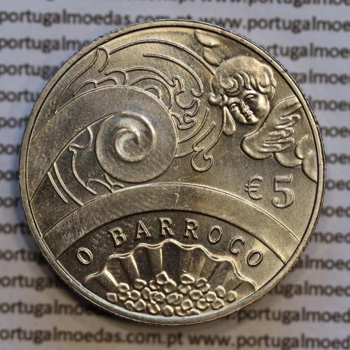 """5€ """"Euros"""" 2018, O Barroco Cupro-níquel (5 Euro 2018  The Baroque Age, Copper-nickel  coin, World Coins Portugal  KM 890"""