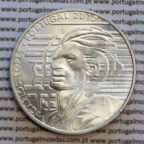 """7,5 """"Euros"""" 2017, Carlos Lopes, prata, (7,50 Euro 2017, Carlos Lopes, prata coin, World Coins Portugal KM881)"""