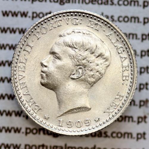 100 réis 1909 prata D. Manuel II, tostão prata 1909, World Coins Portugal KM 548. (Soberba)