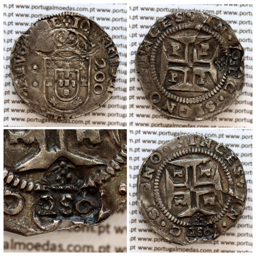 """Carimbo 250 Réis de D. Afonso VI, sobre meio Cruzado Prata de D. João IV (Porto), """"2S0"""" pequeno,  World Coins Portugal KM 434.3"""