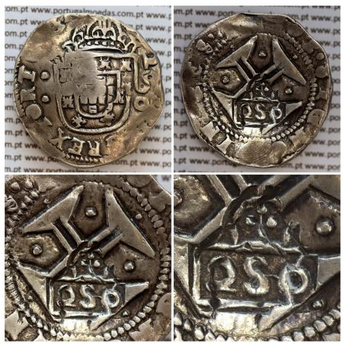 """Carimbo de 250 Réis de D. Afonso VI, (2S0 tipo """"D"""") sobre Meio Cruzado Prata de D. João IV, Reverso Cruz cercada por pontos"""