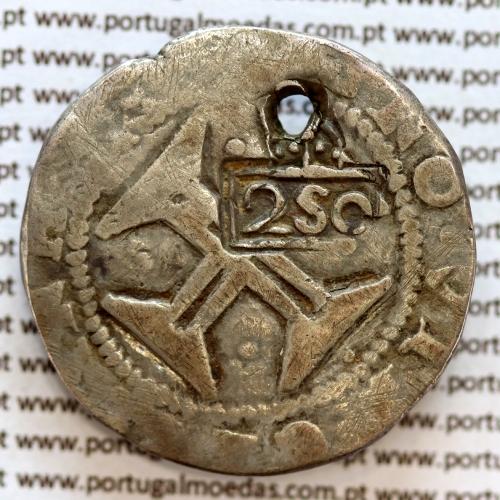 """Carimbo de 250 Réis de D. Afonso VI 1656-1667  sobre  Meio Cruzado Prata Lisboa """"Cruz Cercada"""" de D. João IV 1640-1656"""