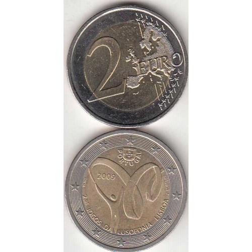 2€ Euros  2009, Jogos Da Lusofonia, Bimetálica, (Portugal, 2 Euro 2009, Lusophony Games)