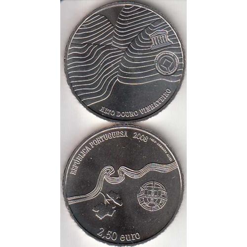 2,50€ Euros 2008, Alto Douro Vinhateiro, Cuproníquel (Portugal, 2,50 Euro 2008, Wordl Coins Portugal KM825)