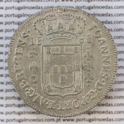 "640 Réis 1808 Prata D. João Príncipe Regente (Brasil), ""B"" Bahia, data emendada 1808 sobre 1807, World Coins Brasil KM 237"