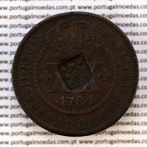 Carimbo Escudete de D. João Príncipe Regente sobre XX Réis cobre 1784 D. Maria I e D. Pedro (Brasil), World Coins Brasil KM 282