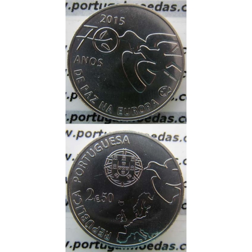2,50€ Euros 2015, Paz Na Europa, Cuproniquel (2,50 Euro 2015 ,70 Years of peace in Europe)