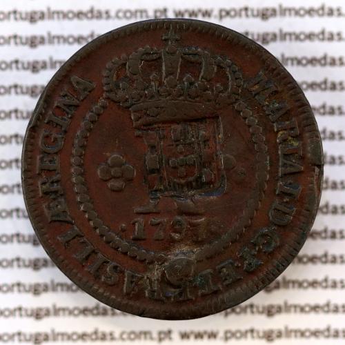 Carimbo Escudete de D. João Príncipe Regente sobre X Réis cobre 1786 D. Maria I (Brasil), World Coins Brasil KM 273.1