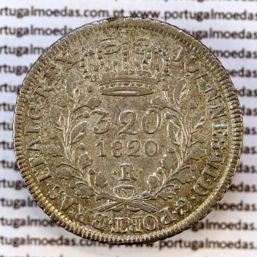 """320 Réis 1820 Prata D. João VI (Brasil) Sem traço no """"A"""" de """"BRAS"""", 1 Pataca 1920 """"R"""" Rio de Janeiro, W. Coins Brasil KM 342.2"""