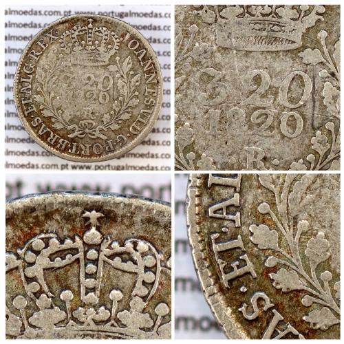 "320 Réis 1820 Prata D. João VI (Brasil), Modulo Menor, valor facial junto á data, diadema losango e crucífero, "".ET."" sobreposto"