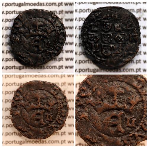 Meio Real Preto em cobre de D. Duarte I, Rara, características atípicas, Coroa com arruelas e legenda separada por Rosetas