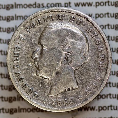 200 réis 1862 prata D. Luis I, dois tostões prata 1862, World Coins Portugal KM 507