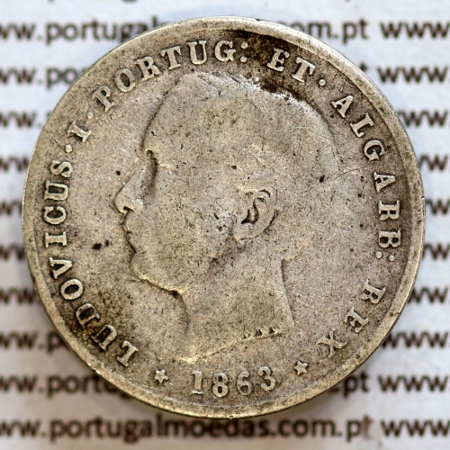 200 réis 1863 prata D. Luis I, dois tostões prata 1863, World Coins Portugal KM 507