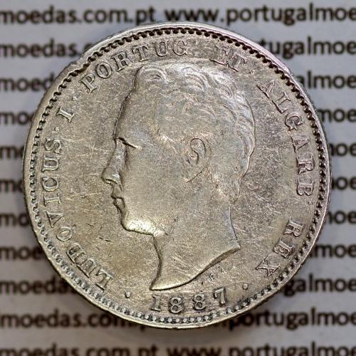 200 réis 1887 prata D. Luis I, dois tostões prata 1887, World Coins Portugal KM 512