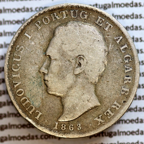 500 réis 1863 prata D. Luis I, moeda de cinco tostões prata 1863, World Coins Portugal KM 509