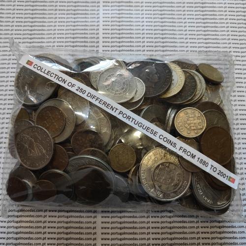 Lote de 250 moedas diferentes de Portugal, diversos estados conservação, diversas moedas desde 1880 até pré-sistema Euro