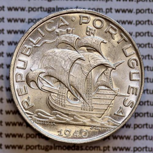 10$00 prata 1940, 10 Escudos 1940 Prata da República Portuguesa, (Soberba), World Coins Portugal KM 582