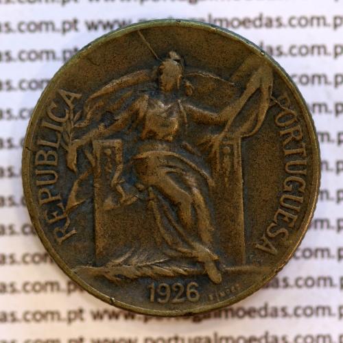 1 Escudo 1926 Bronze-Alumínio, (1$00 escudo 1926), MBC, World Coins Portugal KM 576