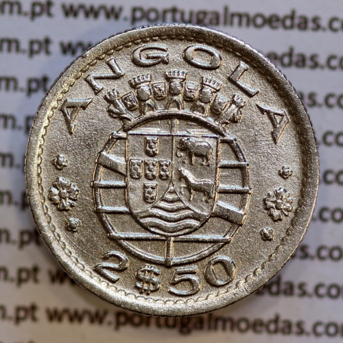 Angola 2$50 1953 cuproníquel, (2 escudos e 50 centavos 1953), (Bela) 2 1/2 Escudos 1953 World Coins Angola KM 77