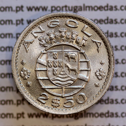 Angola 2$50 1956 cuproníquel, (2 escudos e 50 centavos 1956), (Soberba) 2 1/2 Escudos 1956 copperNickel World Coins Angola KM 77