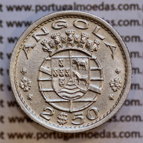 Angola 2$50 1956 cuproníquel, (2 escudos e 50 centavos 1956), (Bela-) 2 1/2 Escudos 1956 copper Nickel  World Coins Angola KM 77