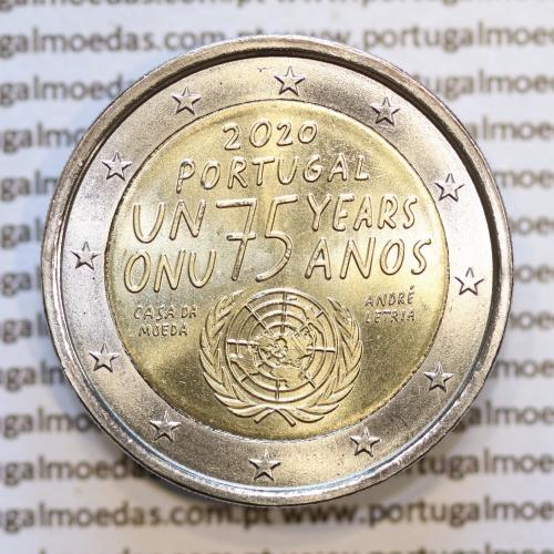 2€ Euros 2020, ONU 75 Anos, Bimetálica (Portugal, 2 Euro 2020, 75th anniversary of United Nations)