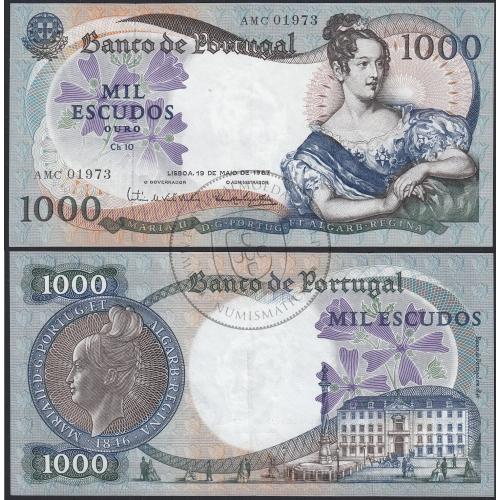 Nota de 1000 Escudos 1967 D.Maria II, 1000$00 19/05/1967 Chapa: 10 - Banco de Portugal (Pouco Circulada)