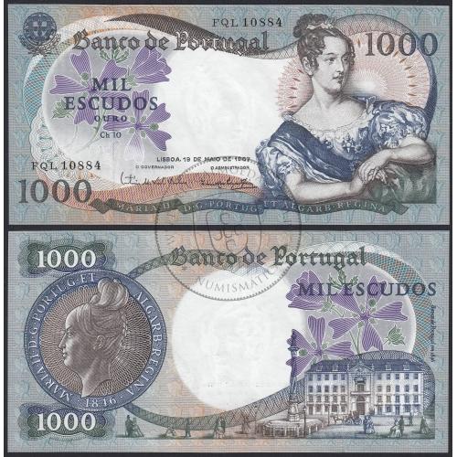 Nota de 1000 Escudos 1967 D.Maria II, 1000$00 19/05/1967 Chapa: 10 - Banco de Portugal (Muito Pouco Circulada)