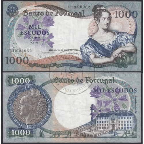 Nota de 1000 Escudos 1967 D.Maria II, 1000$00 19/05/1967 Chapa: 10 - Banco de Portugal (Circulada)