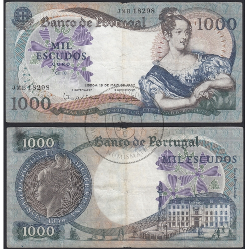 Nota de 1000 Escudos 1967 D.Maria II, 1000$00 19/05/1967 Chapa: 10 - Banco de Portugal (Muito Circulada)