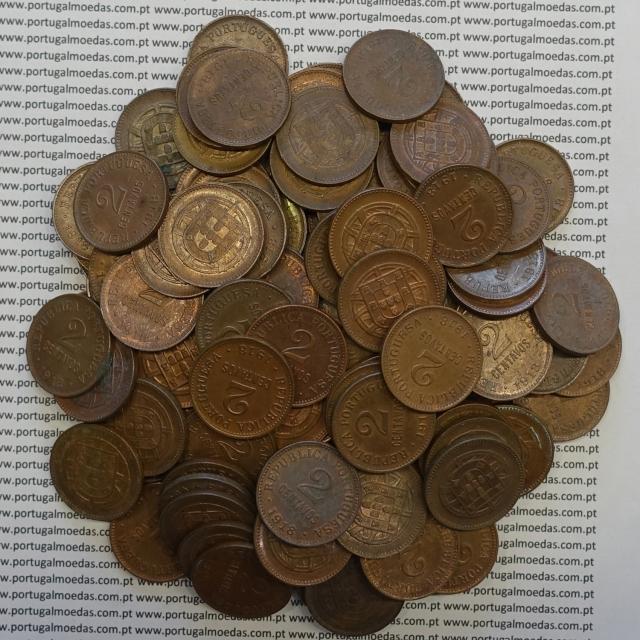 LOTE DE 100 MOEDAS DE DOIS CENTAVOS (2 CENTAVOS) BRONZE 1918 MBC+ / BELAS